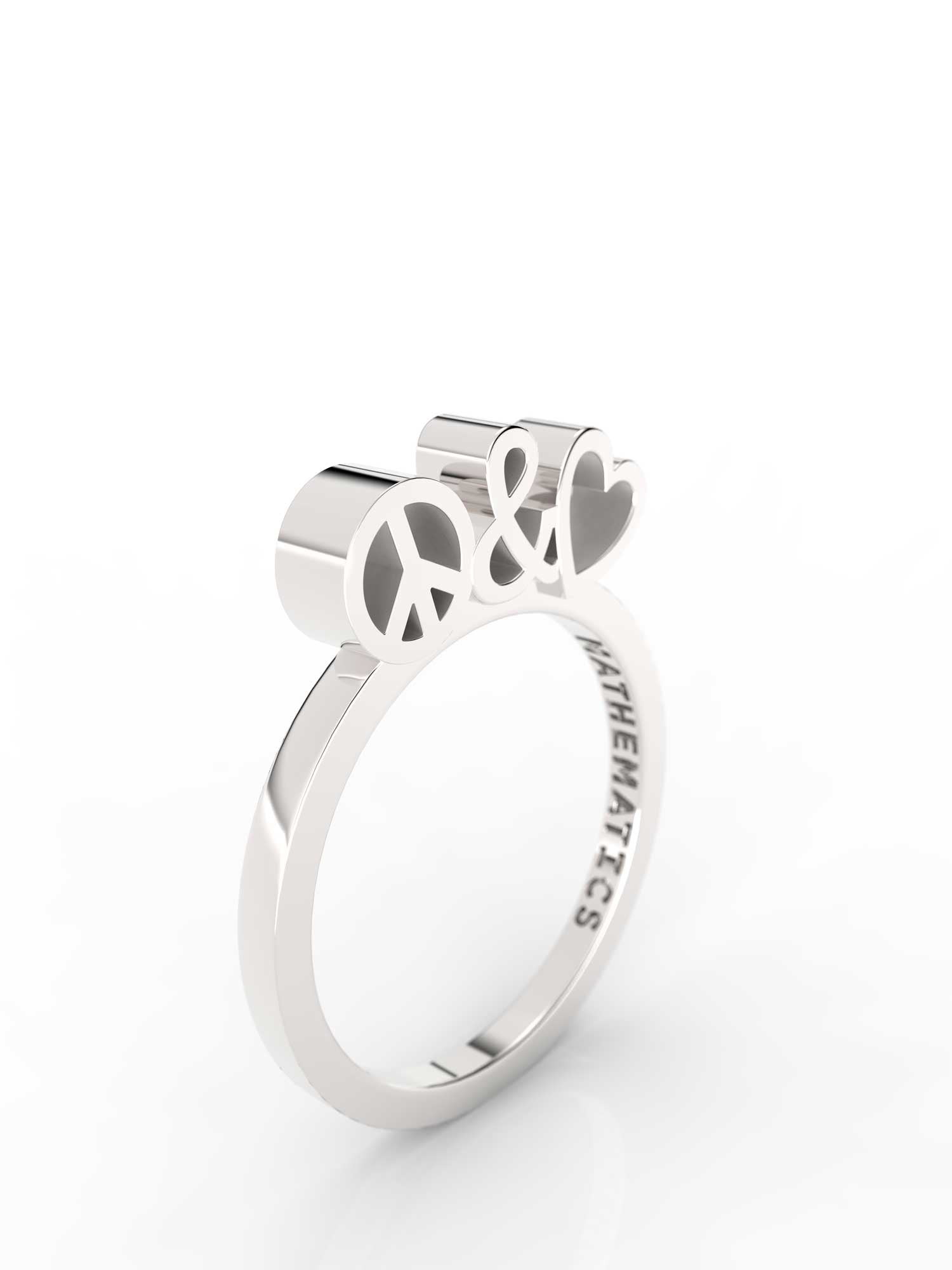 Isometric view of sterling silver peace and love slice ring, featuring architectural slice design