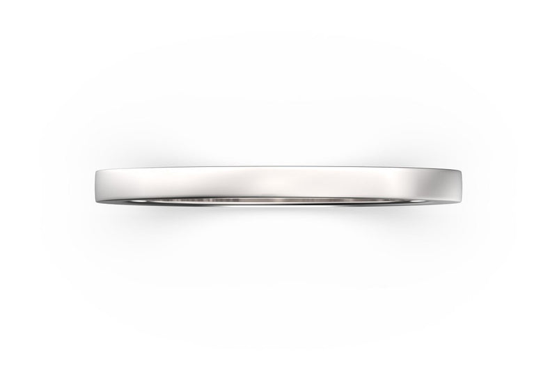 Top view of sterling silver stacking band, featuring length and look of SLICE RING by metal design