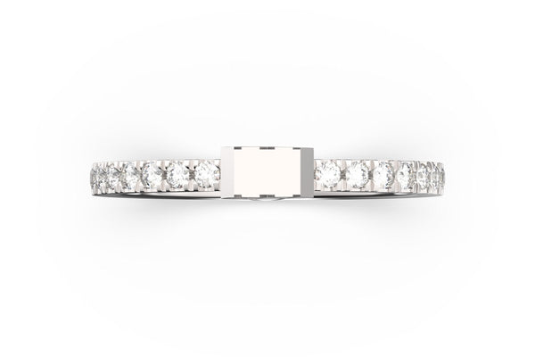 Top view of sterling silver pavé diamond SLICE RING by metal, featuring length and look of SLICE RING by metal design, white diamonds