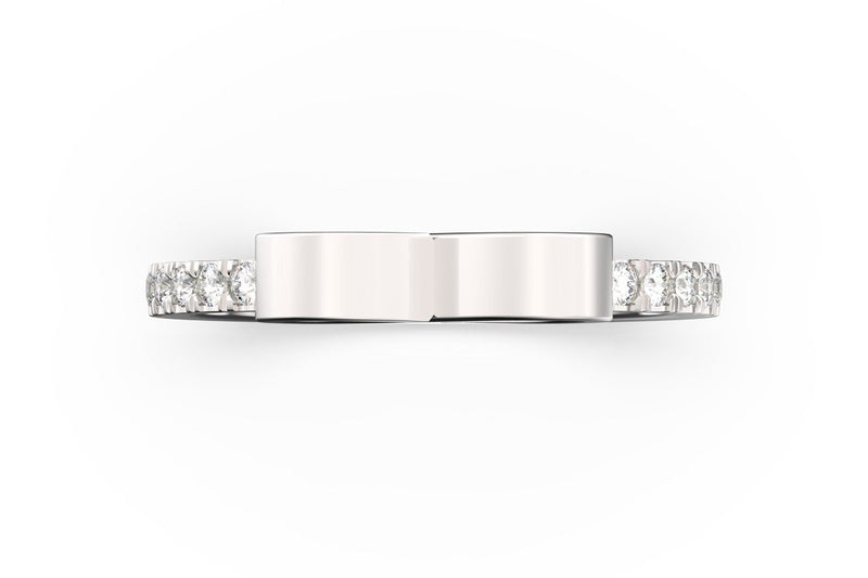 Top view of sterling silver pavé infinity SLICE RING by metal, featuring length and look of SLICE RING by metal design, white diamonds
