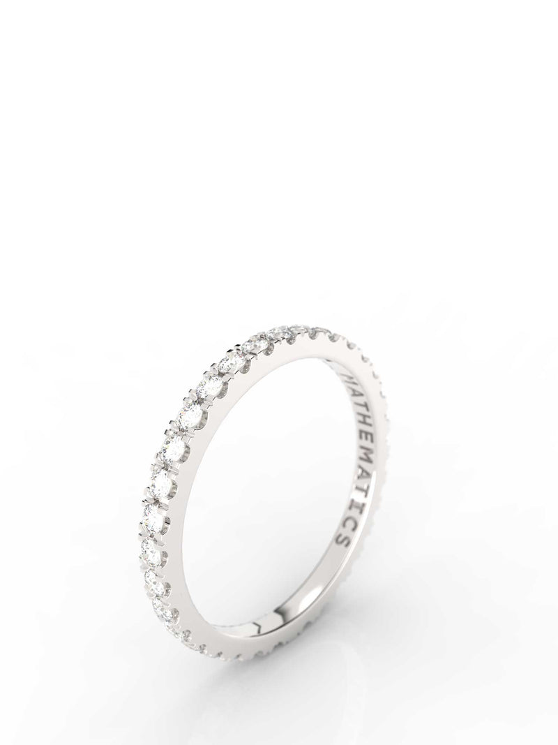 STACKING BAND RING WHITE & BLACK STONE PAVE STERLING SILVER
