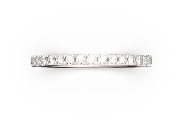 Top view of sterling silver pavé stacking band, featuring length and look of SLICE RING by metal design, white diamonds