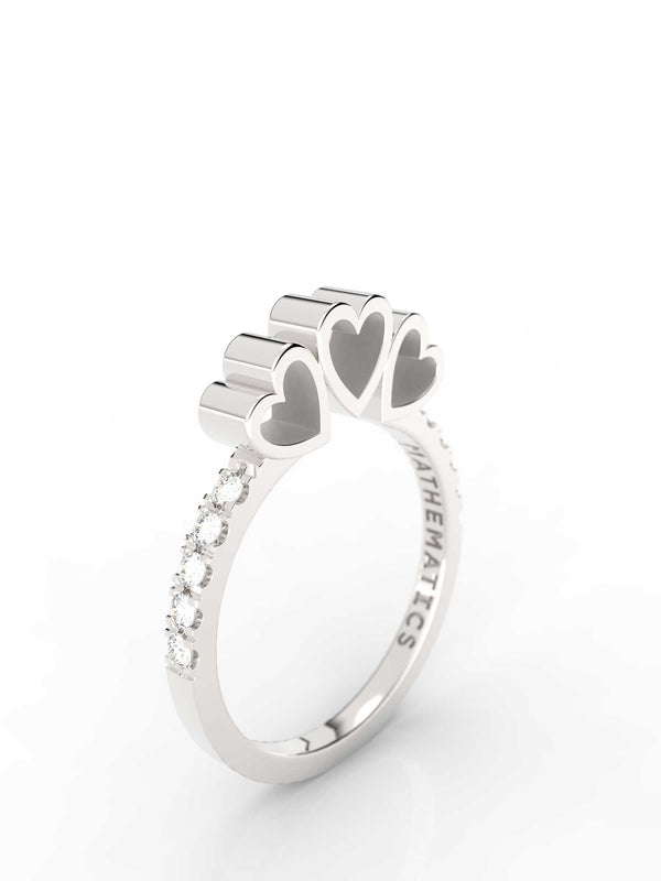 TRIPLE HEART RING WHITE & BLACK STONE PAVE STERLING SILVER