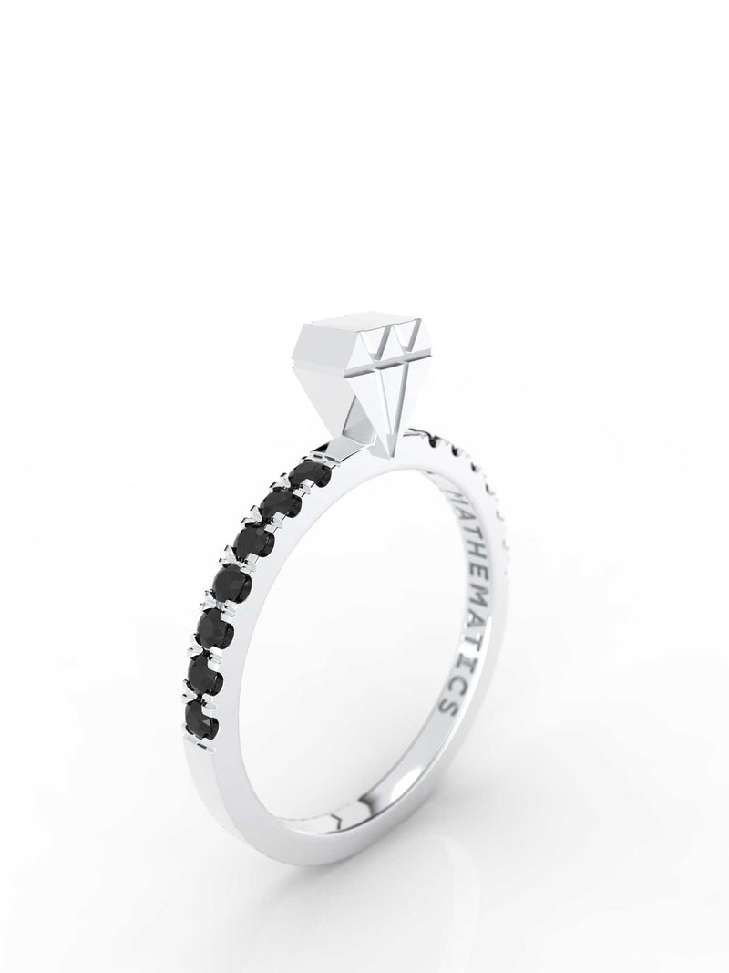 DIAMOND RING WHITE & BLACK DIAMOND PAVE 14k WHITE GOLD