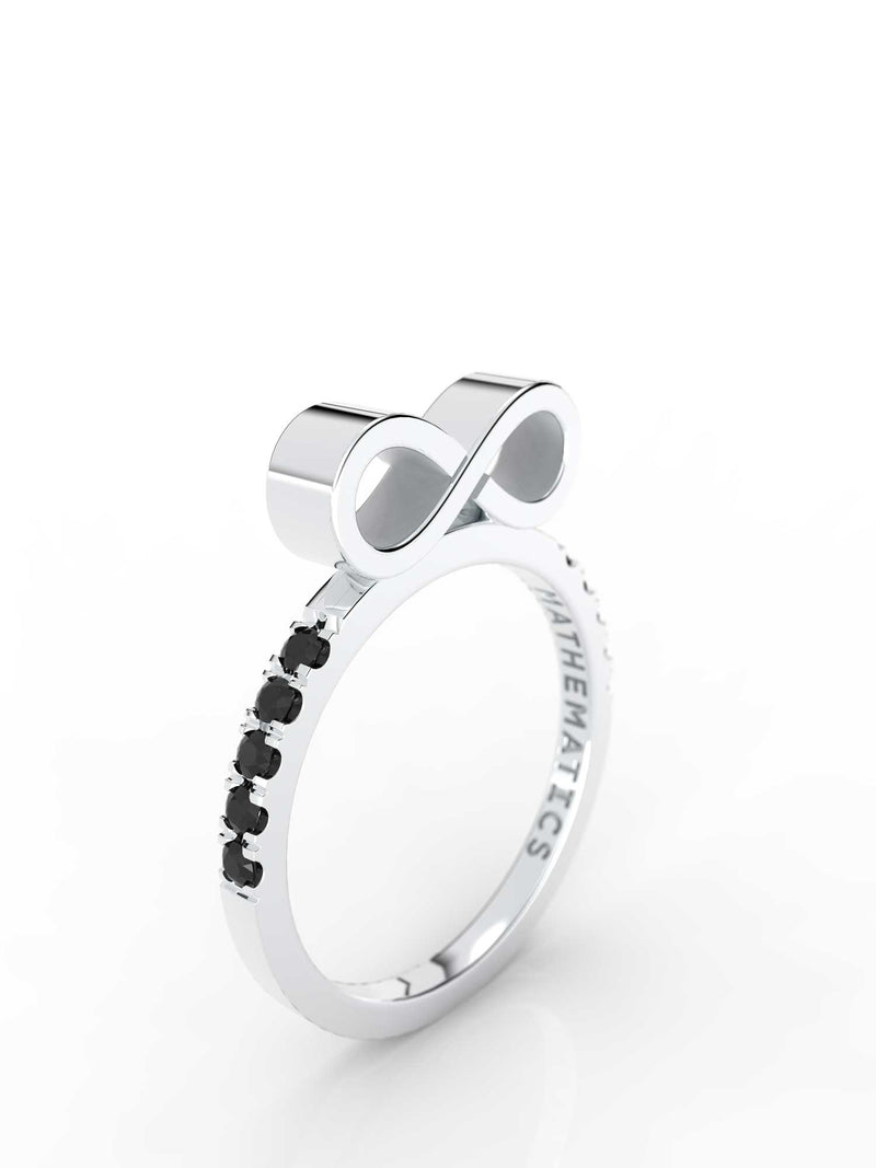 INFINITY RING WHITE & BLACK DIAMOND PAVE 14k WHITE GOLD