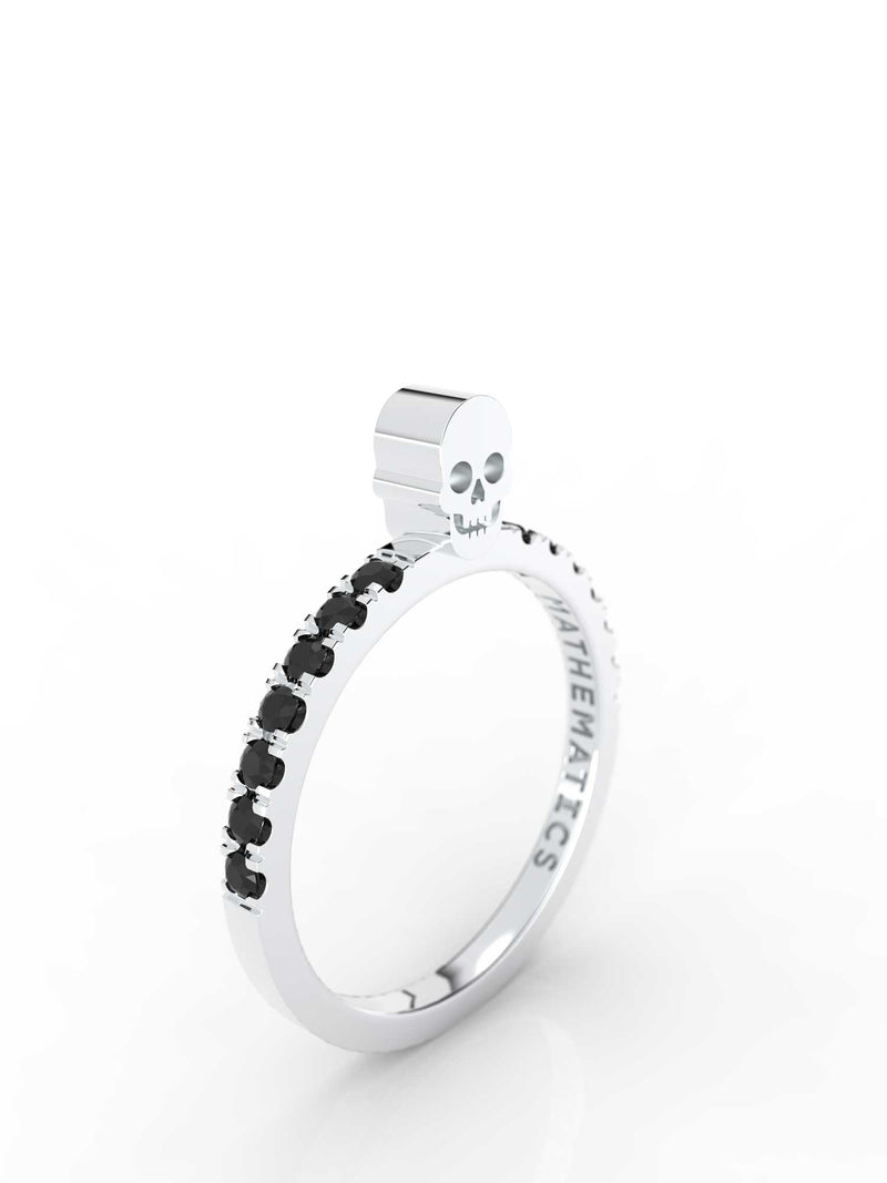 SKULL RING WHITE & BLACK DIAMOND PAVE 14k WHITE GOLD