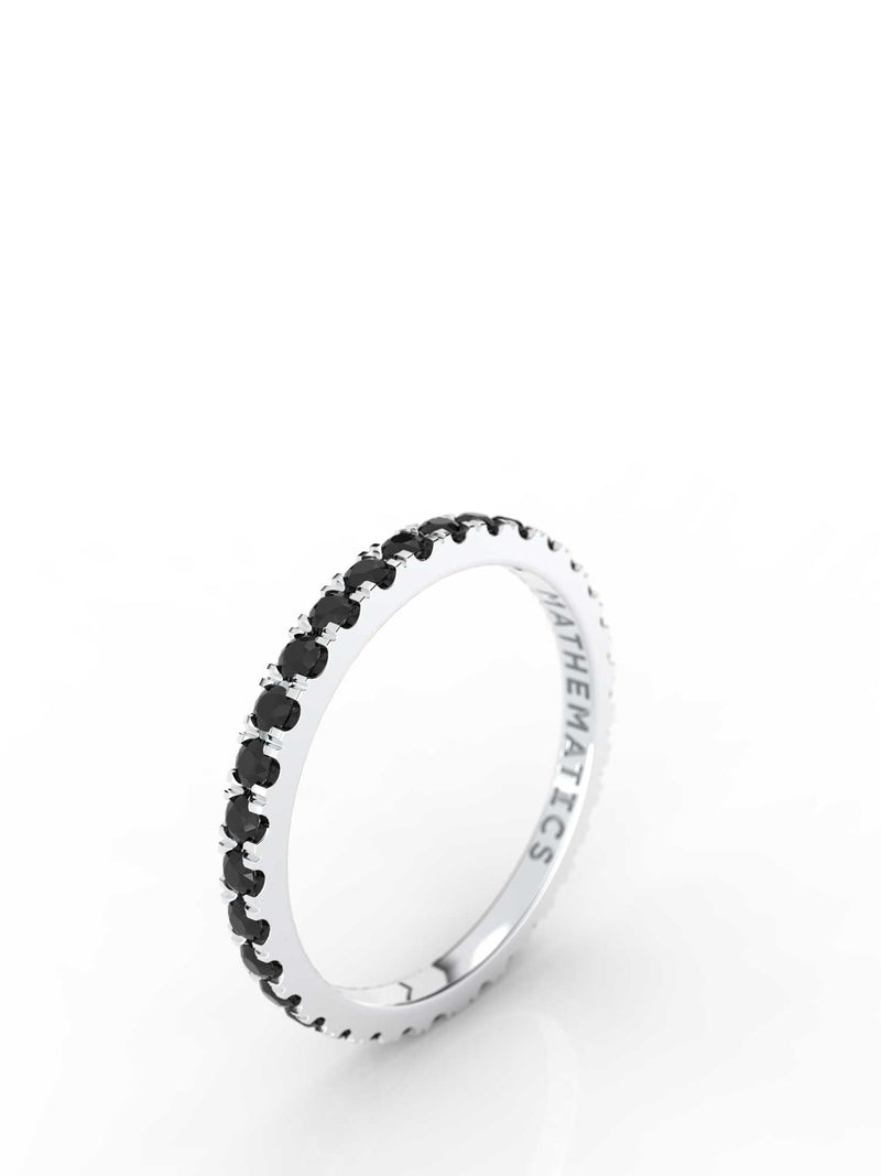 STACKING BAND ETERNITY RING WHITE & BLACK DIAMOND PAVE 14k WHITE GOLD
