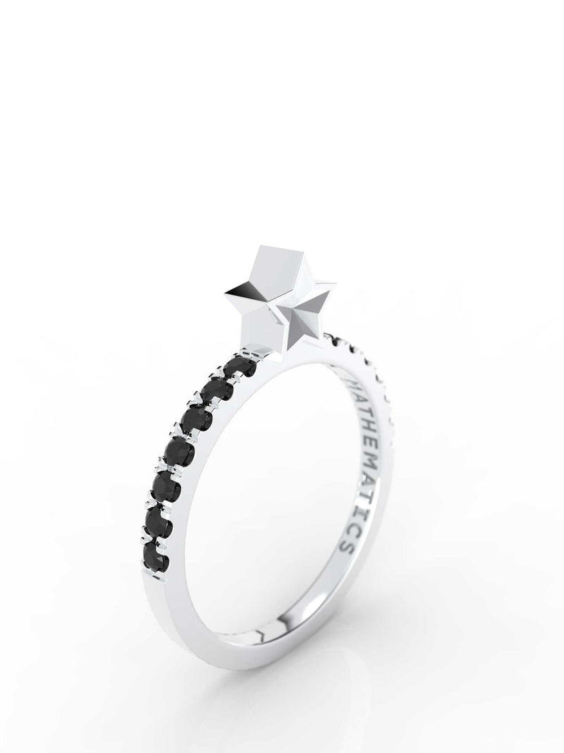 STAR RING WHITE & BLACK DIAMOND PAVE 14k WHITE GOLD
