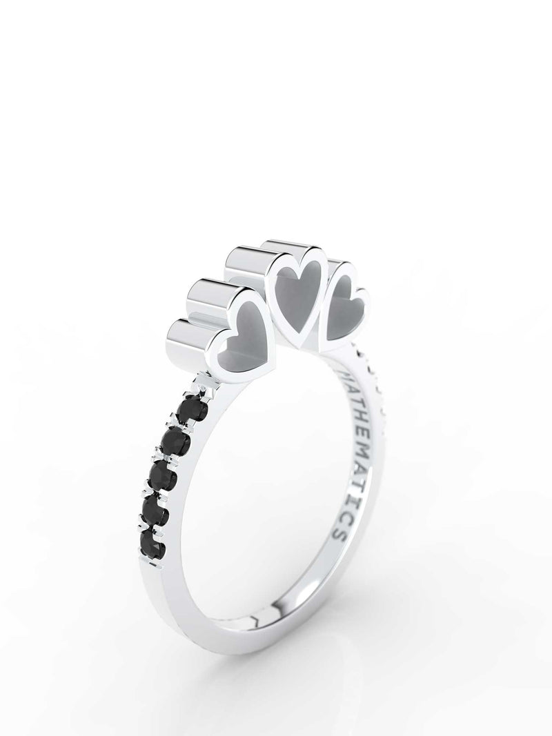 TRIPLE HEART RING WHITE & BLACK DIAMOND PAVE 14k WHITE GOLD