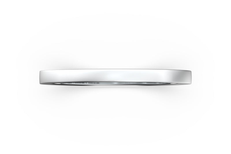 Isometric view of 14k white gold stacking band, featuring architectural slice design