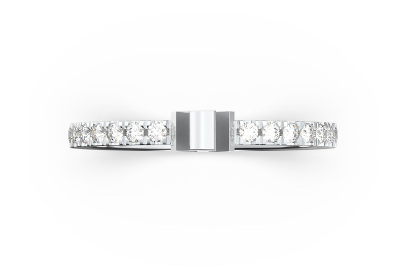 Top view of 14k white gold diamond pavé anchor slice ring, featuring length and look of slice ring design, white diamonds
