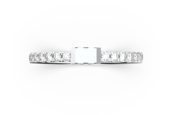 Top view of 14k white gold diamond pavé diamond slice ring, featuring length and look of slice ring design, white diamonds