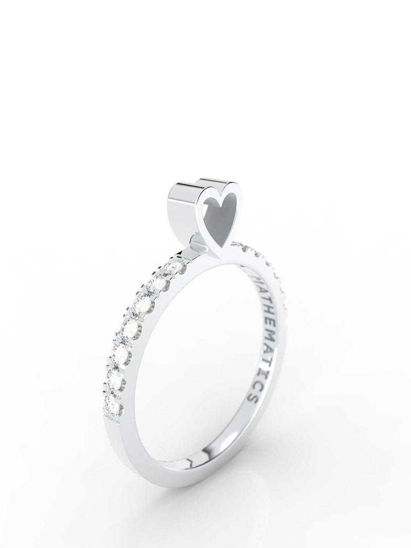 HEART RING WHITE & BLACK DIAMOND PAVE 14k WHITE GOLD