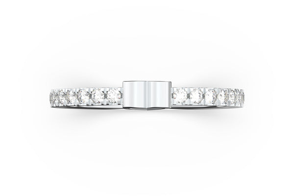 Top view of 14k white gold diamond pavé heart slice ring, featuring length and look of slice ring design, white diamonds