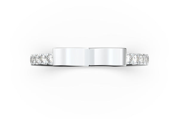 Top view of 14k white gold diamond pavé infinity slice ring, featuring length and look of slice ring design, white diamonds