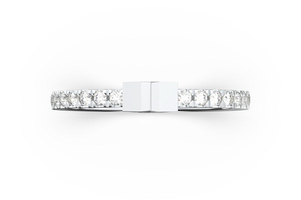 Top view of 14k white gold diamond pavé star slice ring, featuring length and look of slice ring design, white diamonds