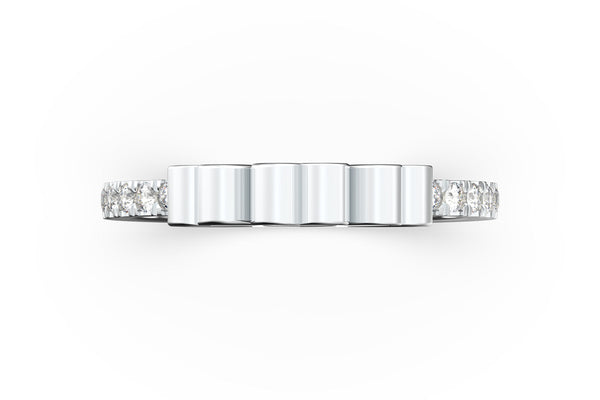 Top view of 14k white gold diamond pavé triple heart slice ring, featuring length and look of slice ring design, white diamonds