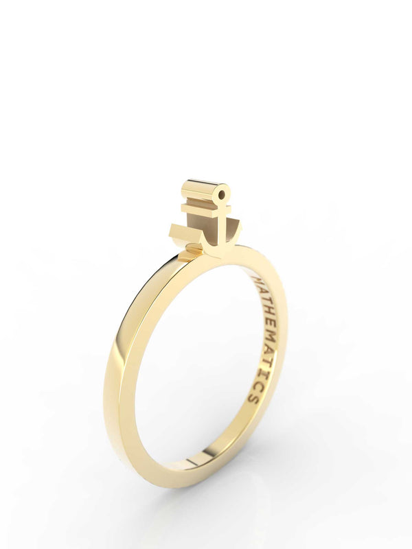 Isometric view of 14k yellow gold anchor slice ring, featuring architectural slice design
