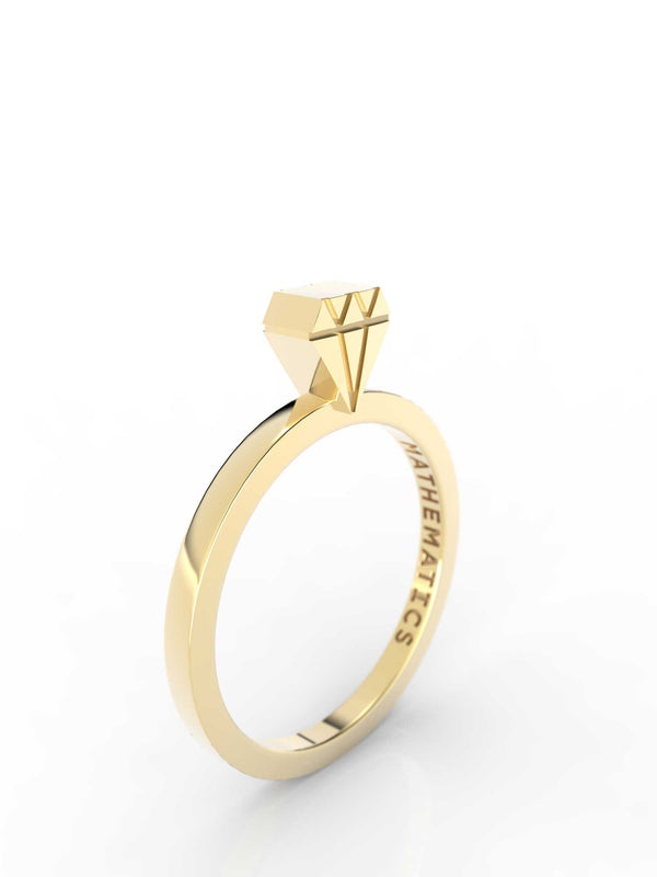 Isometric view of 14k yellow gold diamond slice ring, featuring architectural slice design
