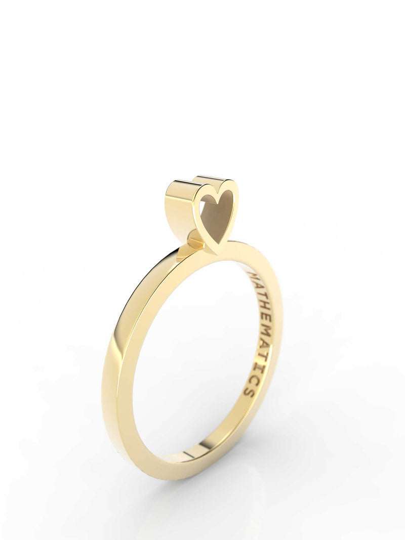 Isometric view of 14k yellow gold heart slice ring, featuring architectural slice design