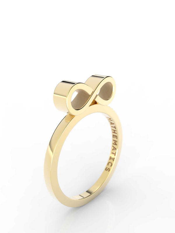 Isometric view of 14k yellow gold infinity slice ring, featuring architectural slice design