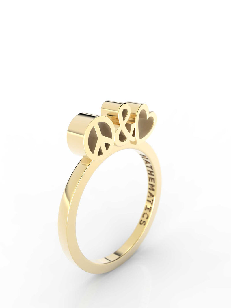 Isometric view of 14k yellow gold peace and love slice ring, featuring architectural slice design