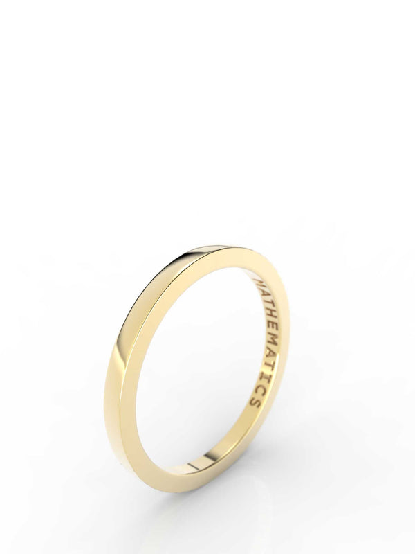 Isometric view of 14k yellow gold stacking band, featuring architectural slice design