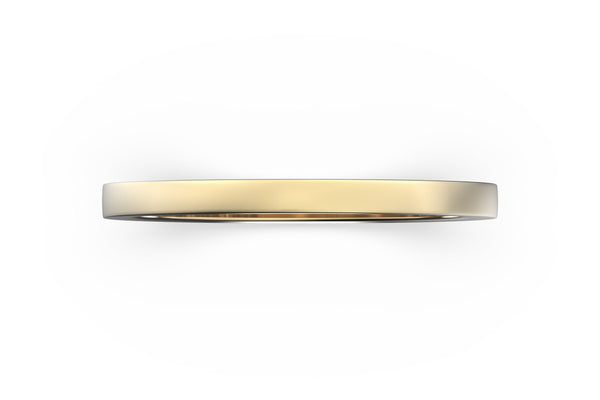 Top view of 14k rose gold stacking band, featuring length and look of slice ring design