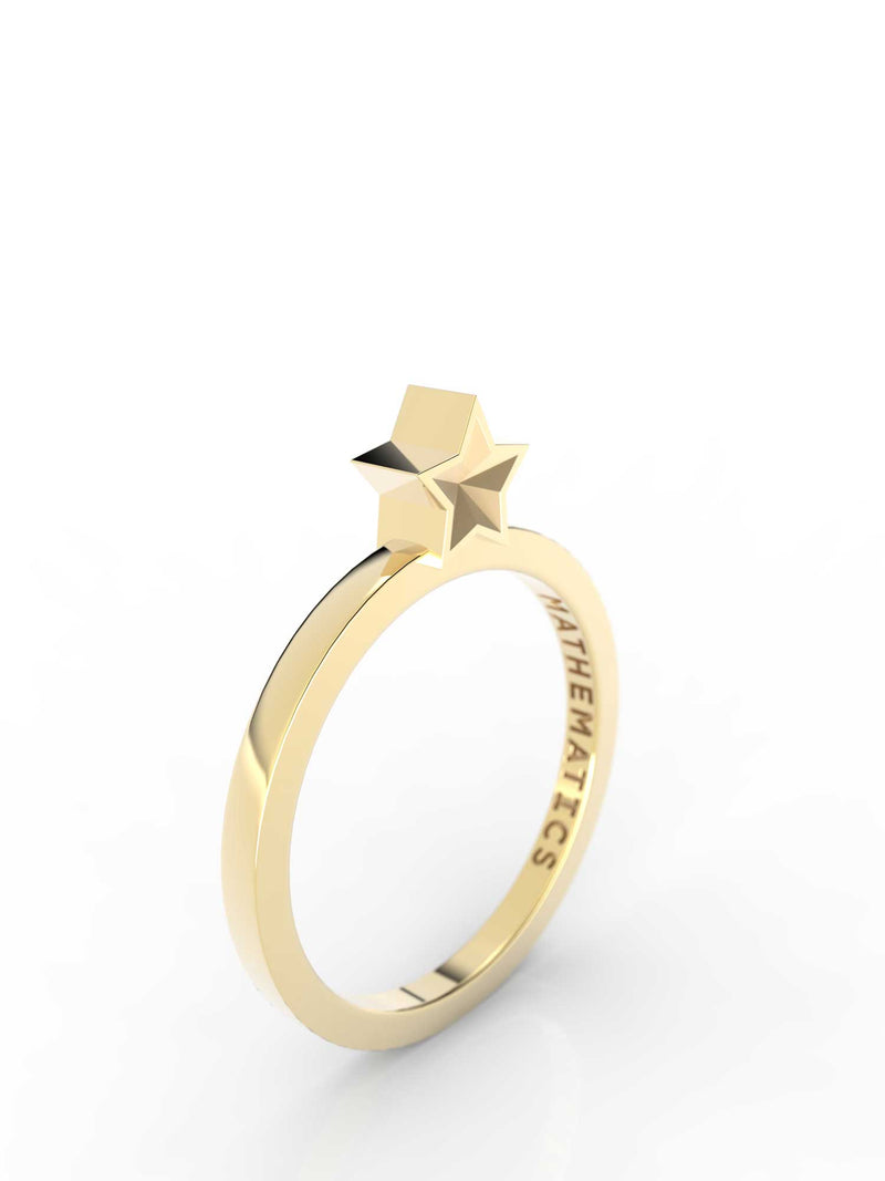 Isometric view of 14k yellow gold star slice ring, featuring architectural slice design