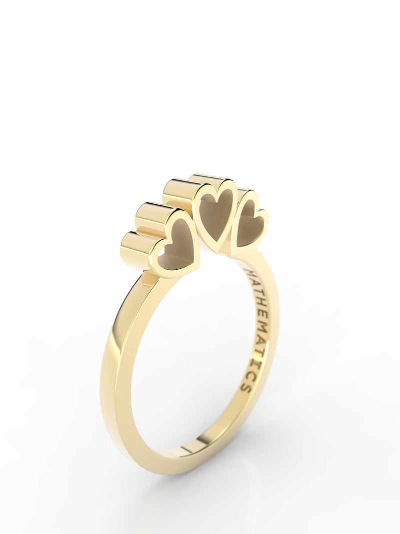 Isometric view of 14k yellow gold triple heart slice ring, featuring architectural slice design