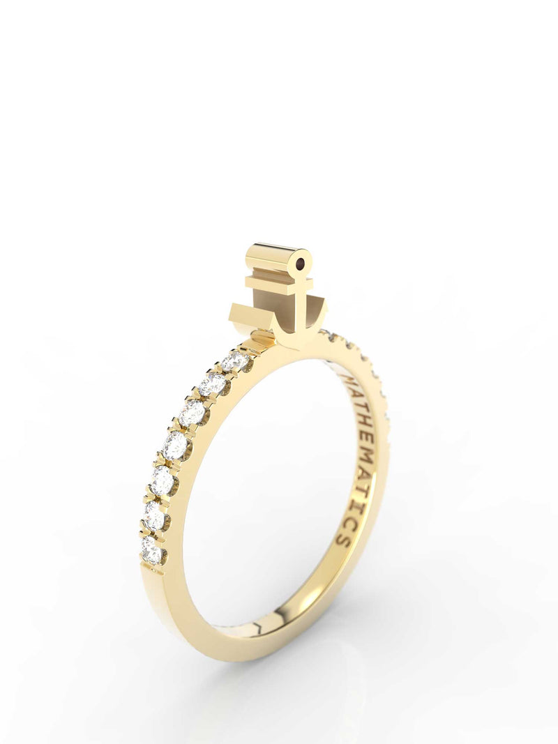 Isometric view of 14k yellow gold diamond pavé anchor slice ring, featuring architectural slice design and white diamonds