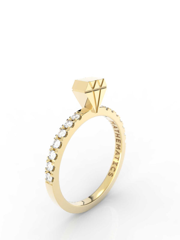 Isometric view of 14k yellow gold diamond slice ring, featuring architectural slice design, set with diamond pavé and white diamonds