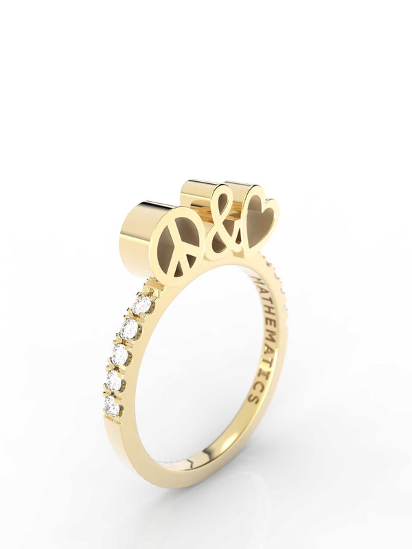 Isometric view of 14k yellow gold diamond pavé peace and love slice ring, featuring architectural slice design and white diamonds
