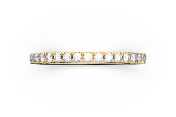Top view of 14k rose gold diamond pavé stacking band, featuring length and look of slice ring design, white diamonds