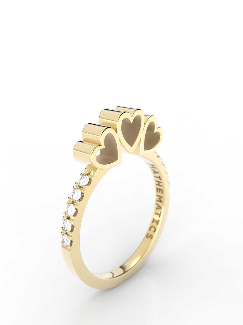 Isometric view of 14k yellow gold diamond pavé triple heart slice ring, featuring architectural slice design and white diamonds