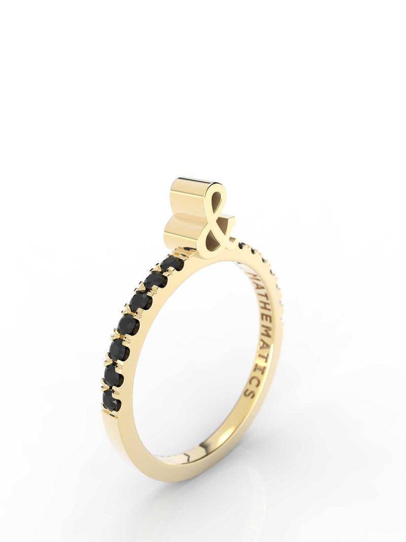 AMPERSAND RING WHITE & BLACK DIAMOND PAVE 14k YELLOW GOLD