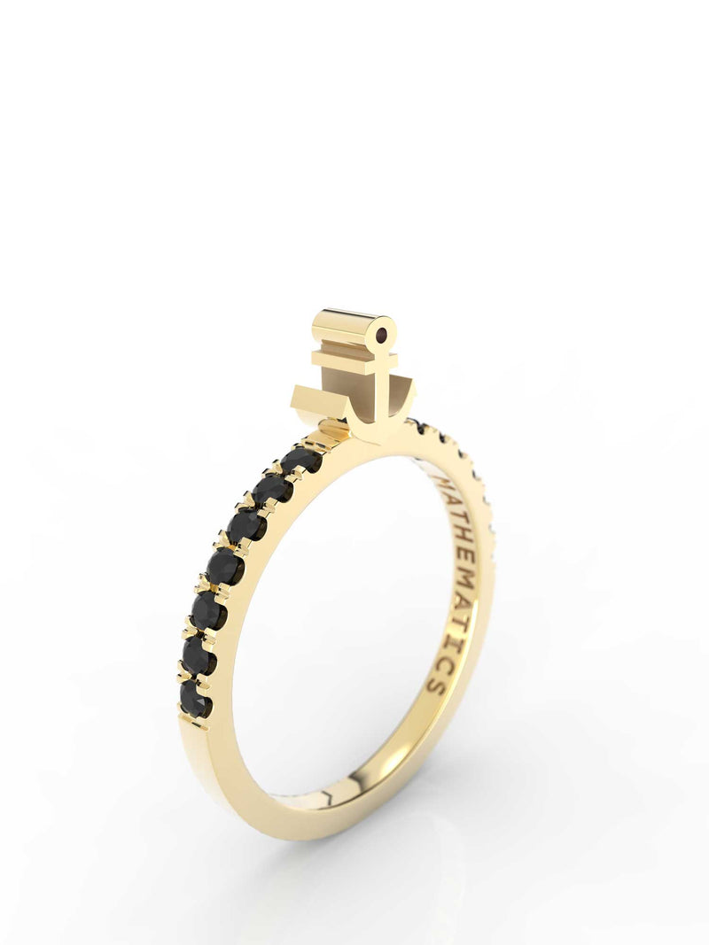 ANCHOR RING WHITE & BLACK DIAMOND PAVE 14k YELLOW GOLD