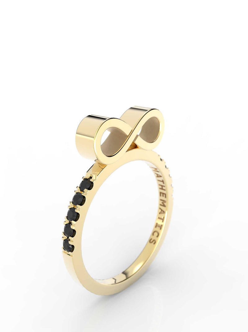INFINITY RING WHITE & BLACK DIAMOND PAVE 14k YELLOW GOLD
