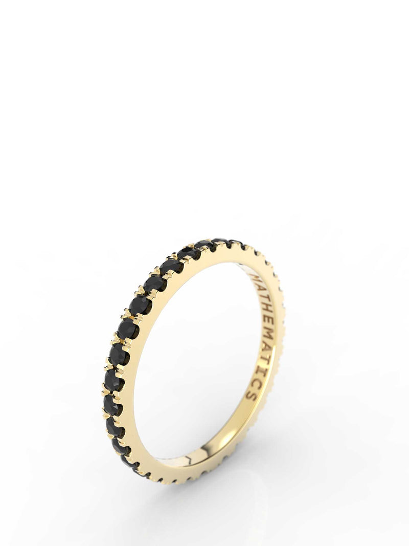 STACKING BAND ETERNITY RING WHITE & BLACK DIAMOND PAVE 14k YELLOW GOLD