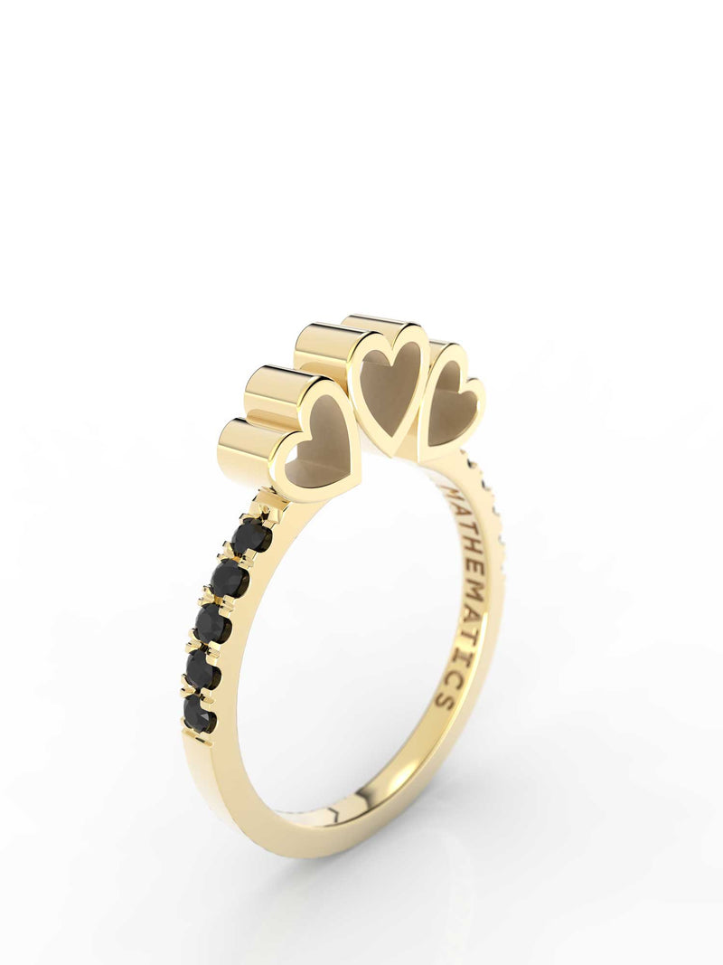 TRIPLE HEART RING WHITE & BLACK DIAMOND PAVE 14k YELLOW GOLD