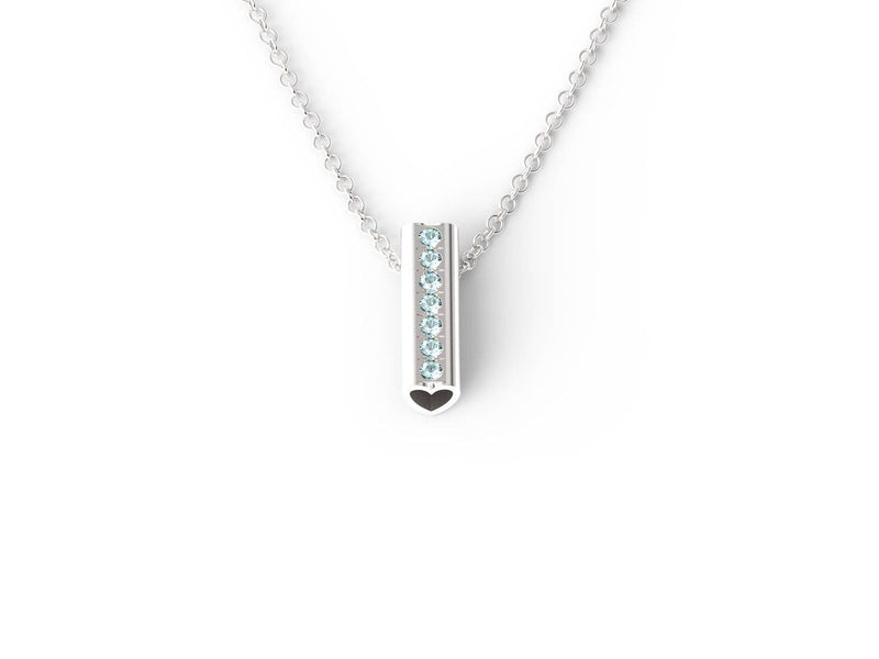 Silver Birthstone Heart Pendant Necklace - Short