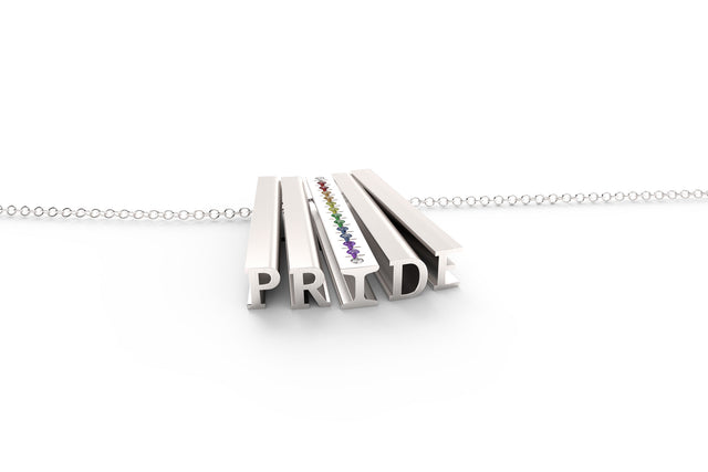 PRIDE // MULTI GEMSTONE PAVÉ STERLING SILVER // ORIGINAL // CABLE CHAIN