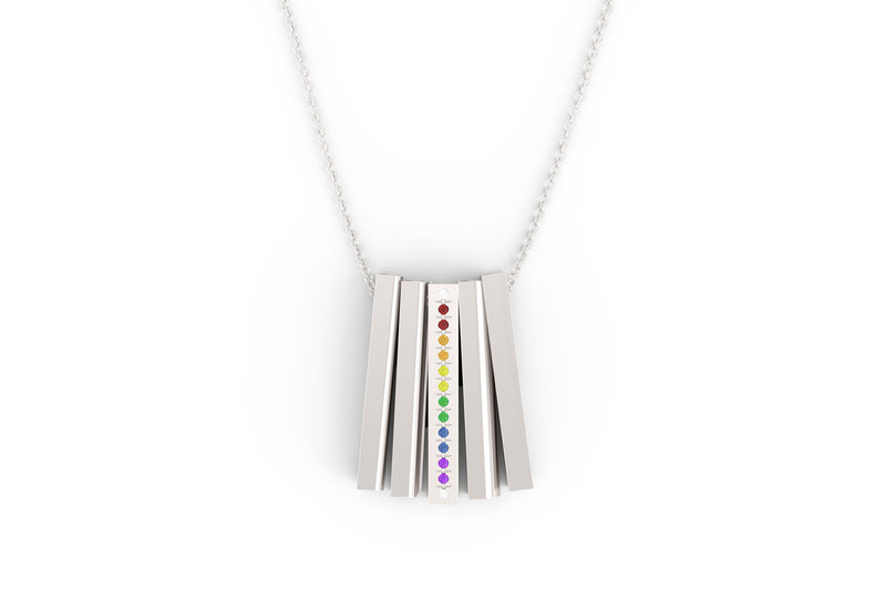 PRIDE Necklace Multi Gemstone - Silver