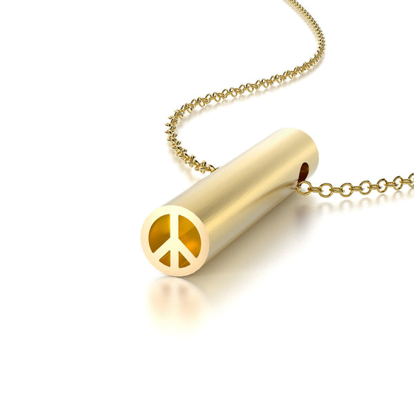 SYMBOL PEACE NECKLACE-14k YELLOW GOLD VERMEIL-outlet