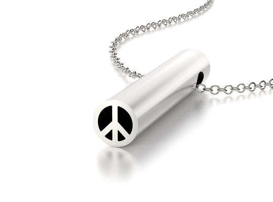 SYMBOL PEACE NECKLACE-STERLING SILVER-outlet