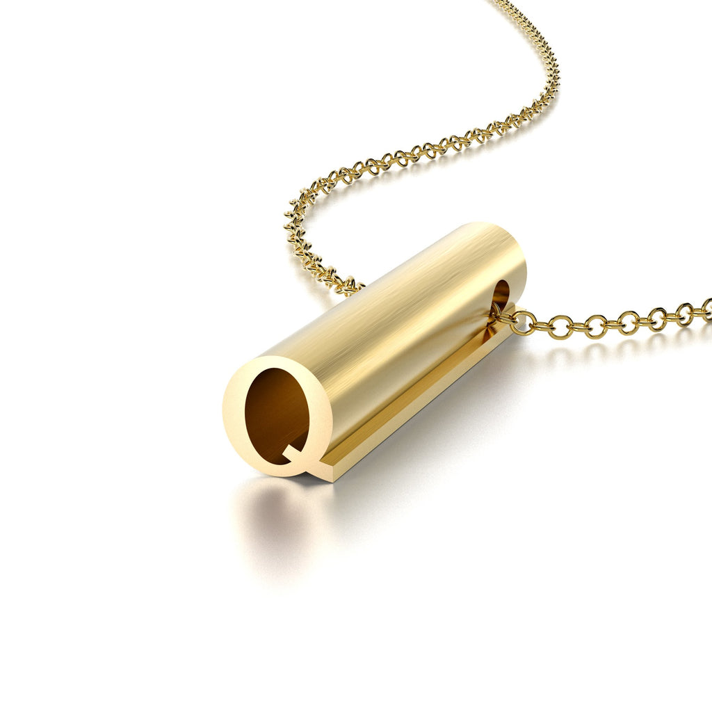 LETTER Q NECKLACE-14k YELLOW GOLD VERMEIL-outlet