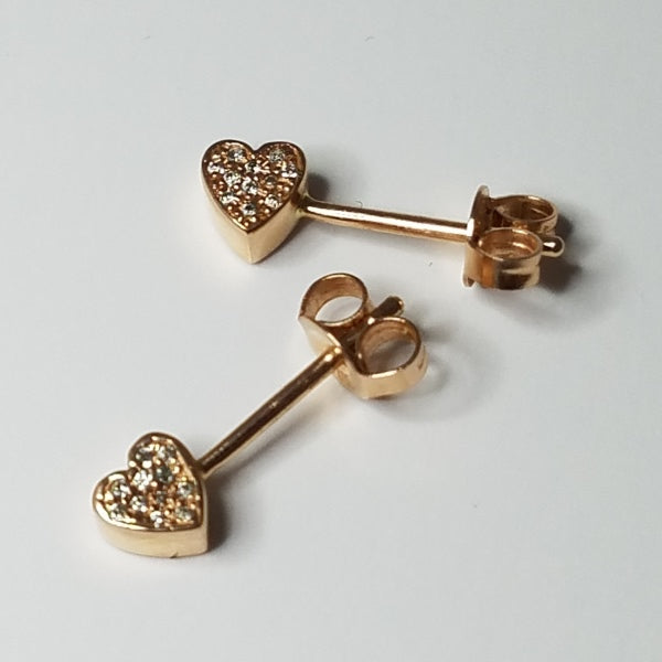 SYMBOL PAVE DIAMOND HEART SLICE EARRING - 14K ROSE GOLD - outlet