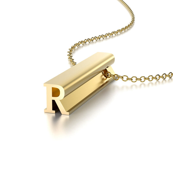 LETTER R NECKLACE-14k YELLOW GOLD VERMEIL-outlet