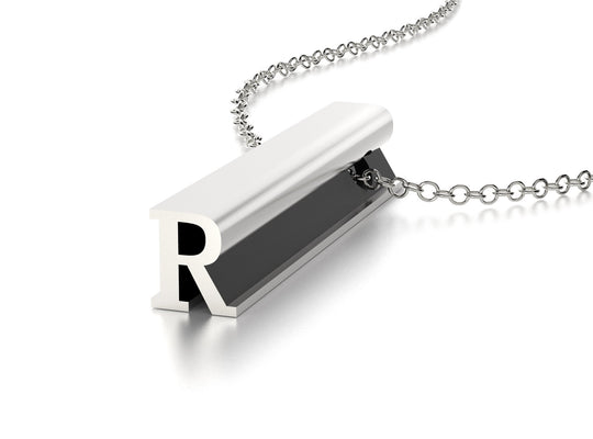 LETTER R NECKLACE-STERLING SILVER-outlet