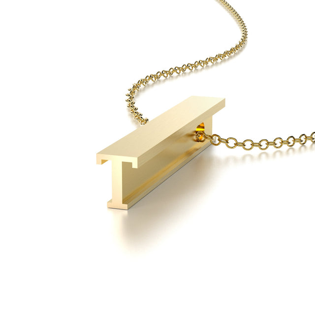 LETTER T NECKLACE-14k YELLOW GOLD VERMEIL-outlet